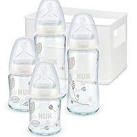 NUK 10225128 First Choice Plus Starter Set Glas, mit 4 Babyflaschen inklusiv Silikon-Trinksaugern und Flaschenbox, 0-6 Monate: Amazon.de: Baby