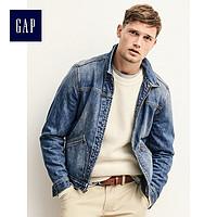 Gap男装 百搭男士秋装浅色水洗全棉牛仔夹克外套325336 仅L码有售