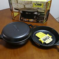 铸铁锅情怀:Lodge L8GP3 烧烤平底锅 + Lodge 洛奇LCC3 预加佐料铸铁组合锅 简单晒单