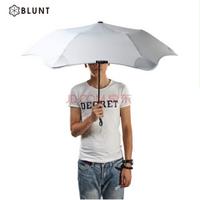 新西兰BLUNT两段式自动折叠伞便携晴雨伞二折伞遮阳伞防风防反转圆角设计 浅灰色