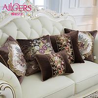靠垫女王加厚咖色绒绣花欧式沙发靠枕床头抱枕靠包汽车靠背含芯大