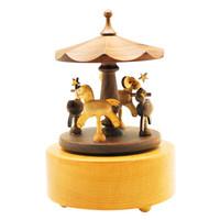 韵升RHYMES创意礼品玩具八音盒枫木胡桃木手工原木旋转木马音乐盒