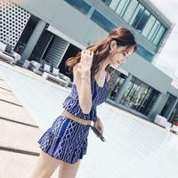 亦美珊2017夏季新款分体小胸聚拢保守遮肚显瘦清新性感高腰裙式游泳衣7048蓝色L