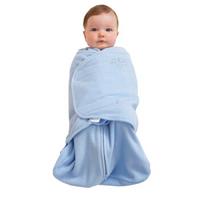 HALO美国婴儿2合1儿童睡袋/宝宝抱被睡衣细摇粒绒秋冬款-厚款0-6个月婴儿蓝S(0-6月)