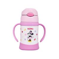 膳魔师(THERMOS)吸管杯儿童水杯宝宝学饮杯子进口凯蒂猫迪士尼双耳杯FHI-250DS-LP-粉色米妮