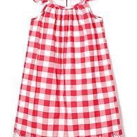 格纹绣花镂空蝴蝶袖连衣裙