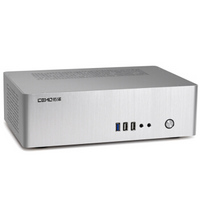 佑泽(CEMO) 9001全铝小机箱HTPC客厅卧式空箱(支持ITX主板迷你1u服务器电源) 银色