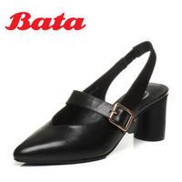 Bata/拔佳2018春专柜同款优雅尖头小v口牛皮玛丽珍女凉鞋821-2AH8 黑色 37