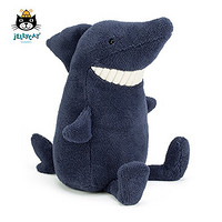 Jellycat 邦尼兔 英国 Toothy鲨鱼 深蓝色 超柔软毛绒玩具公仔 深蓝色 36cm