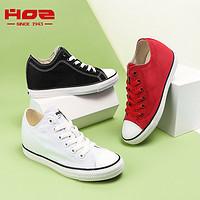 HOZ后街内增高帆布鞋女平底低帮系带透气舒适小白鞋韩版休闲板鞋