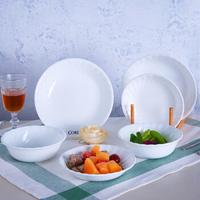 美国康宁餐具CORELLE 6头白色螺纹系列餐具耐热玻璃盘子碗套装家用可入微波炉烤箱 6头螺纹