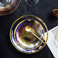 金边炫彩玻璃餐具北欧INS透明西餐盘创意水果沙拉碗菜盘个性摆盘