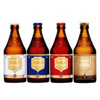 【自营配送】Chimay/智美红帽蓝帽白帽金帽啤酒330ml*4比利时修道院精酿四支礼盒装