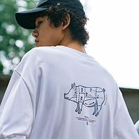 玩薬局bytehare口袋t恤男情侣宽松圆领大码纯白色趣味印花短袖潮