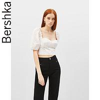 Bershka女士 2019新款白色法式复古宫廷风短袖T恤上衣02223274712