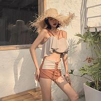 元气少女-韩式分体泳衣显胸少女撞色遮肚显瘦绑带裙式BIKINI泳衣