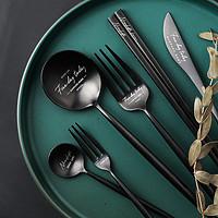 半房欧式牛排刀叉家用主餐勺筷子水果叉不锈钢咖啡搅拌勺餐具套装