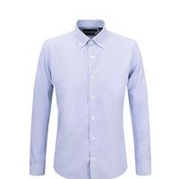 LAMPO/蓝豹男士商务正装蓝色条纹纯棉免烫衬衫