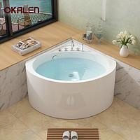 欧凯伦小户型扇形浴缸亚克力超深小浴缸迷你三角形浴盆920*920mm