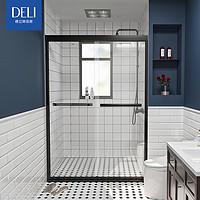 德立淋浴房不锈钢黑色移门定制简易浴室推拉玻璃门隔断S3712定金
