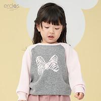 90-100cm erdosKIDS秋冬新款迪士尼款图案圆领提花女童羊绒衫