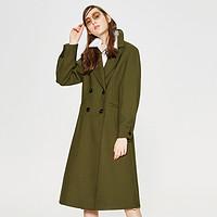 【2件3折价:397.5】羊毛MECITY女装2018新款双排扣翻领收腰中长款大衣外套