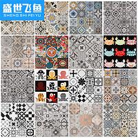 阳台瓷砖地中海仿古卫生间水泥砖现代黑白复古厨房小花砖600x600