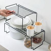 可叠加铁艺置物架橱柜碗碟架厨具调味品架子收纳架厨房台面调料架