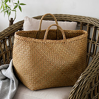 原色无异味脏衣篮人工编织手提换衣篓子悬挂式大号软筐北欧杂物袋