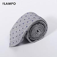 LAMPO/蓝豹领带男正装商务上班职业中灰大人字底圆点提花领带