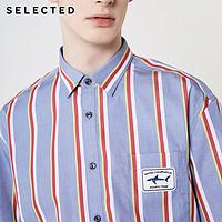 SELECTED思莱德纯棉条纹短袖衬衫
