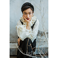 涂月设计天然棉灯笼袖拉夫领上衣2020春大翻领纯色宽松后系带衬衫