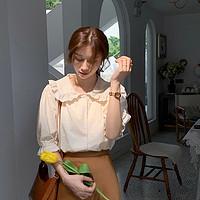 EKOOL花瓣翻领宽松短袖衬衫女夏季2020新款百搭薄款上衣显瘦衬衣