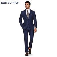 Suitsupply-Lazio蓝色羊毛丝麻混纺格纹商务休闲男西装套装