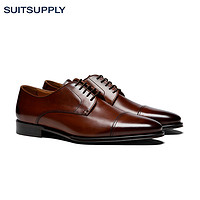 Suitsupply-棕色意大利牛皮布莱克针法商务休闲男士德比鞋