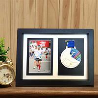 地润木质奖牌展示框马拉松奖牌展示架徽章装裱框勋章收纳创意相框