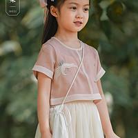 舒栗女童汉服12岁女孩夏装连衣裙儿童古装超仙马甲套装宝宝唐装
