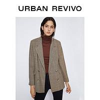 UR2020春季新品女装时尚西装领拼色格纹西装WH01S1CF2000