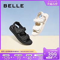 百丽平底凉鞋女2020夏商场新款菱格纹羊皮休闲松糕凉鞋3RJ30BL0预