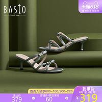 百思图2020夏季新款商场同款法式蝴蝶结高跟女凉鞋RVB08BT0