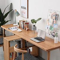 北欧全实木电脑书桌书架组合一体桌家用简约卧室一字板双人连体桌