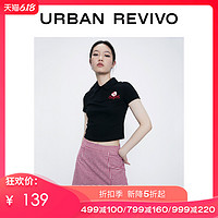 UR2020春夏新品青春女装紧身拼色翻领马球衫T恤YV14R4NN2002