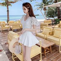 连体显瘦泳衣女遮肚裙式保守小胸聚拢镂空短袖遮胳膊韩国ins度假