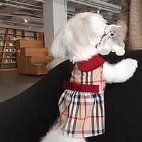 LLA大牌格子裙红色领娃娃衫泰迪比熊马尔济斯约克夏猫咪狗衣服