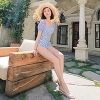 OMOM法式少女高腰学生泳衣女保守连体三角显瘦遮肚度假温泉泡澡服