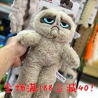 英国GrumpyCat不爽猫臭脸猫宠物毛绒猫狗玩具发声玩偶逗猫薄荷棒