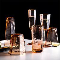 杯子轻奢金边锤纹无铅玻璃杯创意个性潮流珊瑚红高脚葡萄酒红酒杯