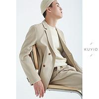 KUYIOU/设计师款?定织泡泡纱侧两粒扣包裹式韩版外套休闲西装男