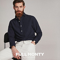 FULLMONTY春夏藏青色泡泡纱套头衬衫男士商务纯棉休闲时尚衬衣