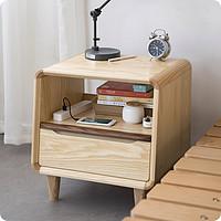 [璧玉床头柜]原创白蜡木黑胡桃北欧现代纯实木榫卯结构丨览春木业
